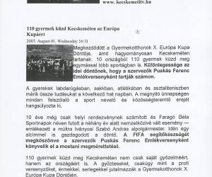 Kecskeméti Tv: 110 gyermek küzd az Európa Kupáért 2007. aug. 01.