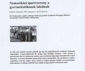 porta.hu: Nemzetközi Sportverseny gyermekotthonok lakóinak 2009. aug.05.