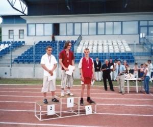 Eredményhírdetés a Széktói Stadionban 2001.